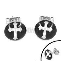 Free Shipping! Enamel Black Cross Stud Earrings Stainless Steel Jewelry Trendy Biker Earring Studs SJE370116