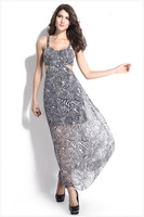 L036,Free shipping the new dress dress sleeveless v-neck irregular back design fashion dress