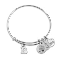 Letter B In Circle Chubby Charms Adjustable Bangle Charm Bracelet Set of Two Bangles