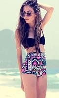 2015 New Fashion Women Sexy Bandage Bikini Summer High Waist Plaid Printed Push Up Bikini Swimwear Beach Swimsuit