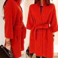 New 2014 wool coat women's autumn winter wool jacket with belt fashion red wool overcoat outerwear