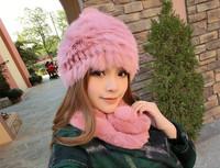 Fashion female autumn and winter thermal fur rabbit fur hat winter yarn ear protector cap toe cap covering cap