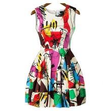 2014 Summer New Designer Multicolor Sleeveless Short Dress Women's Fashion Graffiti Print Flare Dress(China (Mainland))