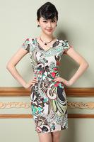2015 new women dress spring/summer M-3XL slim short sleeve casual dress for fashion lady plus size women print dress G93Y