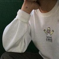 Hipa embroidery HARAJUKU Homie warm sweatshirt outerwear o-neck plus velvet Simpson pullovers hoodies with velvet