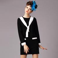 2015 black plus size S-6XL higth quality spring antumn long sleeve O neck formal work dress women dress casual dress party dress