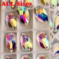 Top Quality All Size For Choice  Teardrop Glass Crystal AB Sew on Rhinestones  Droplet Sewing Crystals Buttons Mixed 20% Off