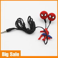 Newest Cartoon Spiderman Headphones Fashion Sports Headsets Top Quality Video Game Earbuds 3.5mm In-ear earphone as Gift to kids