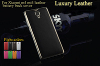 m4 mi4 leather back cover xiaomi mi4 m4 back Cover Case Leather metal Battery Back case 5' door Cover luxury+50 screen protector