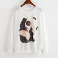 New 2015 Women for sweatshirt Thin style pullover Women casual hoodies China panda protection animals print women hoody hoodies