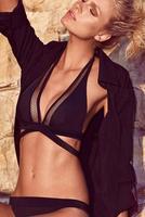 2015 New Fashion Women Deep V-Neck Hollow Out Sexy Bikini Set Summer Sexy Black Bikini Swimwear with Padded Bathing Suit