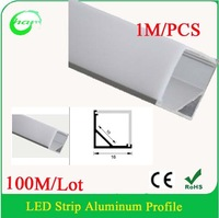 100M/Lot V Shape 1616 strip led aluminum profile Aluminum LED Profile Suitable for LED strips up to 10mm width