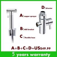 Copper Shower Set Shattaf Bidet Sprayer Douche kit Include Toliet Sprayer ABS Bracket  Flexible Hose Control Valve