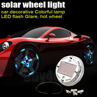 Auto Colorful RGB Waterproof flash Glare Car Solar Power 12 LED Wheel Energy Tire Light Lamp decorative Lightings #4509