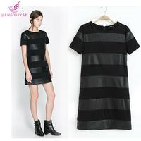 Vestidos High Street Fashion Casual Dresses Women Summer PU Leather Patchwork Black Straight Dress Roupas Femininas Dropshipping