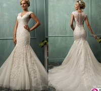 Classic Brand vestido de noiva Lace V-neck Cap Sleeve Button Covered Back Sexy Chapel Train Romantic Mermaid Wedding Dress 2015