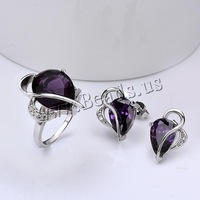 Free shipping!!! Jewelry Set,Korea Jewelry, Brass, finger ring & earring, Heart, platinum plated, with cubic zirconia, nickel