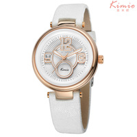 2015 Big Number KIMIO Quartz Watches Stainless Steel Case Women Waterproof PU Leather Wristwatch 2035 Movement KW520M