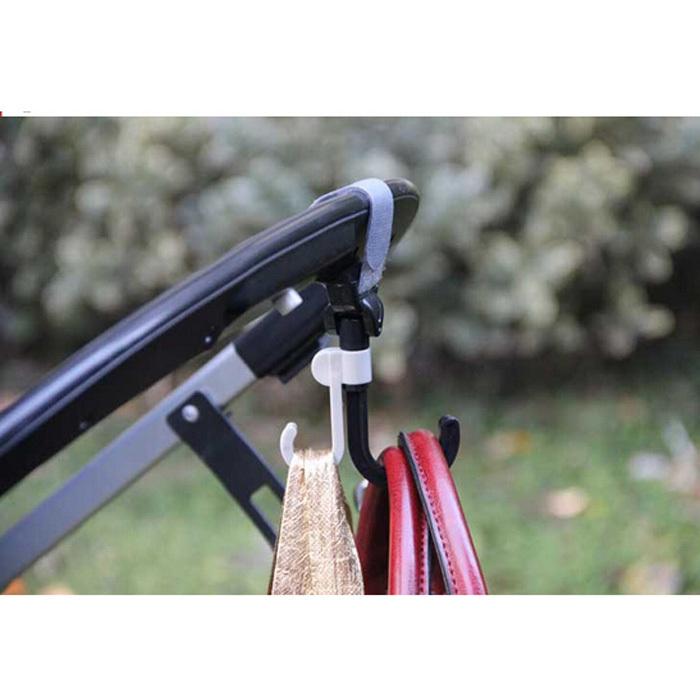 Stroller Hook Hanger Pothook Baby Stroller Pram Double Rotate Hook Pushchair Hanger Stainless Steel Shaft(China (Mainland))