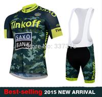 Best selling Tinkoff Saxo Bank 2015 Cycling Jersey bib Kit Short Sleeve+bib Shorts Men Bike MTB Cycling Clothing Many choose