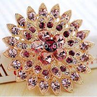 1 Piece Gorgeous Purple Rhinestone Crystal Flower Brooch Pin Costume Jewelry, Item no.: JPB004