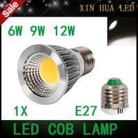 High quality  E27  6w 9w 12w  85-265v  COB  dimmable Spotlight  gu10 mr16  cob lamp  bulbs warm/cool white  free shipping!