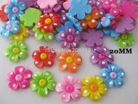 JB0005 Flatback resin buttons Mix 100pcs 20mm Flower decorative jewelry button No holes