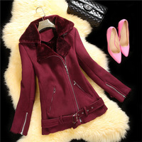 2015 New Arrival Women's Short Fashion Genuine Lamb Suede Leather Fur Coat/Fur Jacket