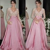 New Arrival Long Sleeves Pink Evening Dresses 2015 V Neck Nude Bodice Dress Party Evening Elegant Custom Made EV0190