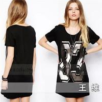 European and American Women 2014 New Summer Fashion Hot Silver Printed O Neck Short Sleeve T-shirt Loose Long Tee Shirts Tops