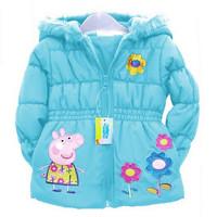 2014 new pepe pig cotton-padded clothes.Children's hoodies. girls Winter hooded jacket.100% cotton cartoon children's coat.