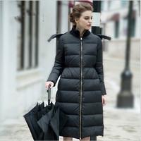 Down Coat Women Winter Long Slim Black Down Jacket Women'S Winter Woman Coat 2015 Thick Abrigo Plumas Mujer On Sale