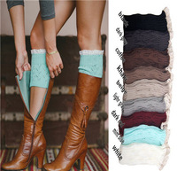 New Women Ladies Warm Trim Crochet Candy Color Lace Cotton Knit Boot Cuffs Socks Leg Warmers