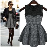 New 2014 Women's Woolen Dress New Fashion Tank Dresses Women  A-line Winter Dress Vintage  Elegant Female Mini Dresses S-XLb