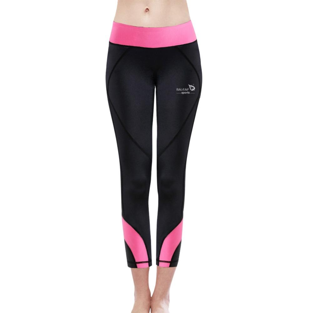 Baleaf damenmode fitness& Yoga caprihose w/pink Bund sehr elastische slim- Montage Turnhalle bodybuilding Übung leggings
