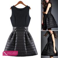 Rockabilly Retro Celebrity Goddess Hepburn O-Neck Black Ball Gown Dresses Swing Down Cotton Dress