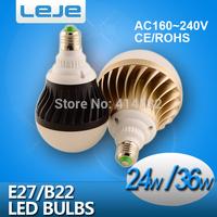 LED bulb lamp bulbs led lights E27 B22  24W 36W  5730SMD Cold white/warm white AC220V 230V 240V Free shipping