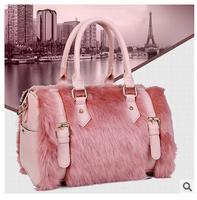 New female bag 2015 fashion recreation bag maomao bag 1 pce wholesale high-grade rabbit hair Boston women messenger bags