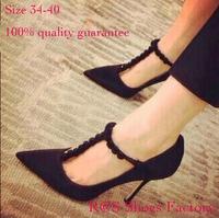 New 2014 Women's High Heels Plue Size34-40 Women Pumps Party Sexy Black 9cm High heels Rose Floral T-strap  Elegant  Pumps Shoes