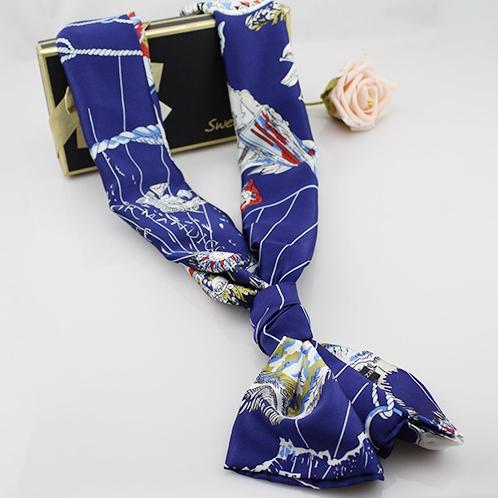 New Autumn Vintage Soft Ladies Long Satin Scarves Fashion Graffiti Women Print Blue Scarf Wrap High Quality Shawl W-195(China (Mainland))