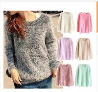 New Women Girl Fashion Loose Mohair Knitting Autumn Winter Jumper Sweater Tops