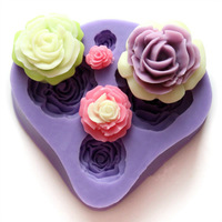 Free Shipping F0303 roses cake mold silicone mold Diy fondant cake molds soap chocolate mould for the kitchen baking