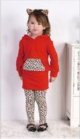 9-24M baby girl spring leopard cat sweatshirt + skirt + pant 3 pieces set infant suit