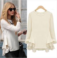 Women FreeShipping! Rock High Quality Brand Shirt 2014 Large European Style Long Sleeve Chiffon Wave Sewing Women Blouses Shirts