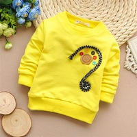 Free shipping 2015 Spring New baby boys and girls Buttons long-sleeved t-shirt,children t-shirt,kid clothing#Z941