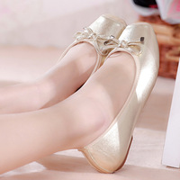 Free Shipping 2014 new autumn and the wind bow shoes shoes with flat single flat shoes