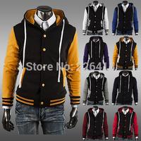 Free Shipping Classic Baseball Hoodies Men Outerwear Slim Short Design Sweatshirt Men Hooded Sudaderas Size M-XXL