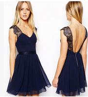 Lace spell receives slim waist Hot women's Backless sleeveless  sexy fashion  dress