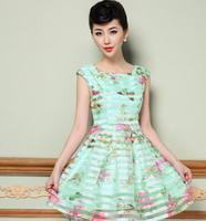 spring/summer new women dress S-XXL elegant lady's party dress women flower print dress plus size sleeveless vest dress G100Y