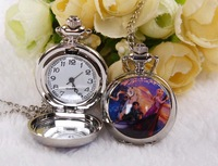 Antique silver Christopher and Aisha High quality quartz pocket watches necklace Take the mirror pendant